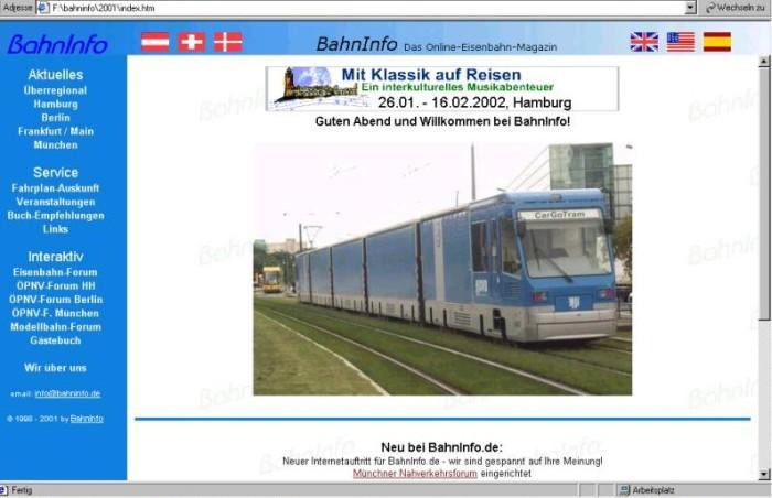 BahnInfo im Jahr 2001