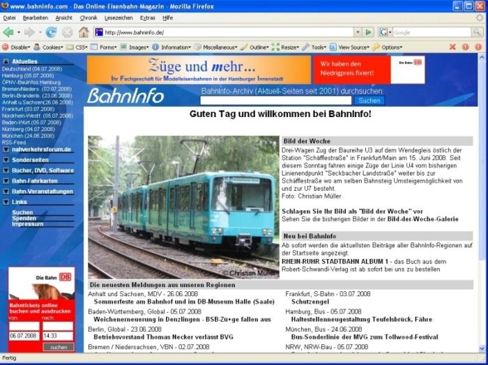 BahnInfo im Juli 2008