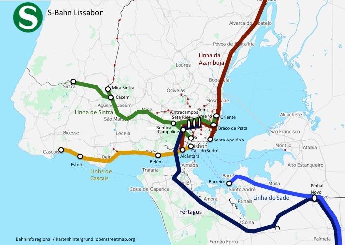 Das S-Bahn-Netz von Lissabon